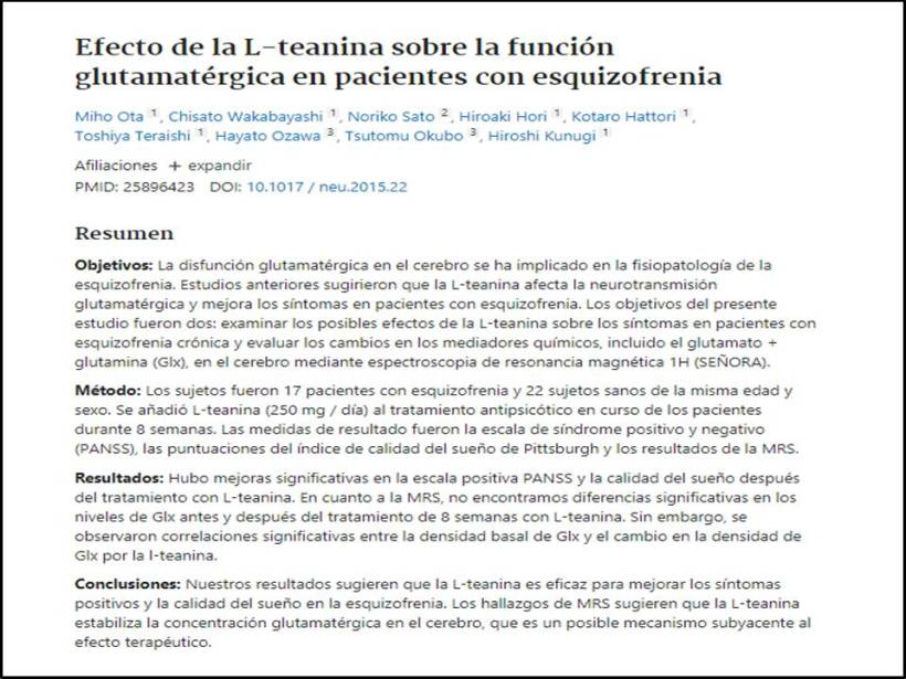 función glutamatérgica de la teanina