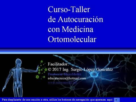 Primera diapositiva del curso-taller de autocuración con medicina ortomolecular